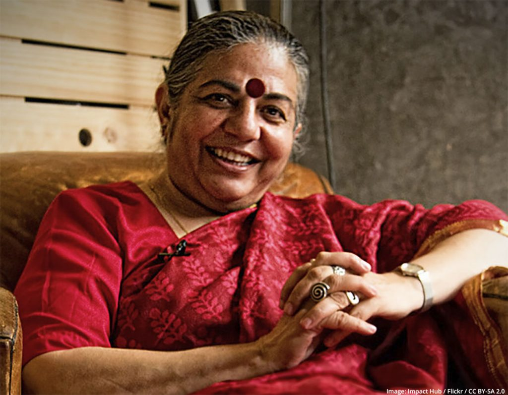 Vandana Shiva fights patents on seeds to make farmers independent from Monsanto and Nestlé